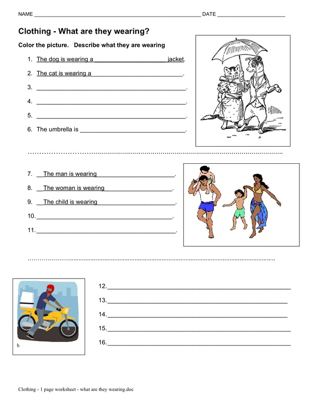 Clothes english worksheets pdf
