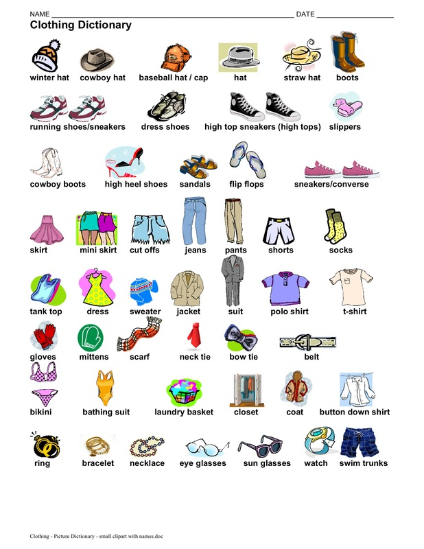 Clothing - picture dictionary - 1 page