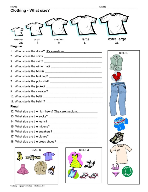 Worksheets Esl Worksheets Pdf clothing esl with miriam worksheet 2 what size singular and plural 1 page