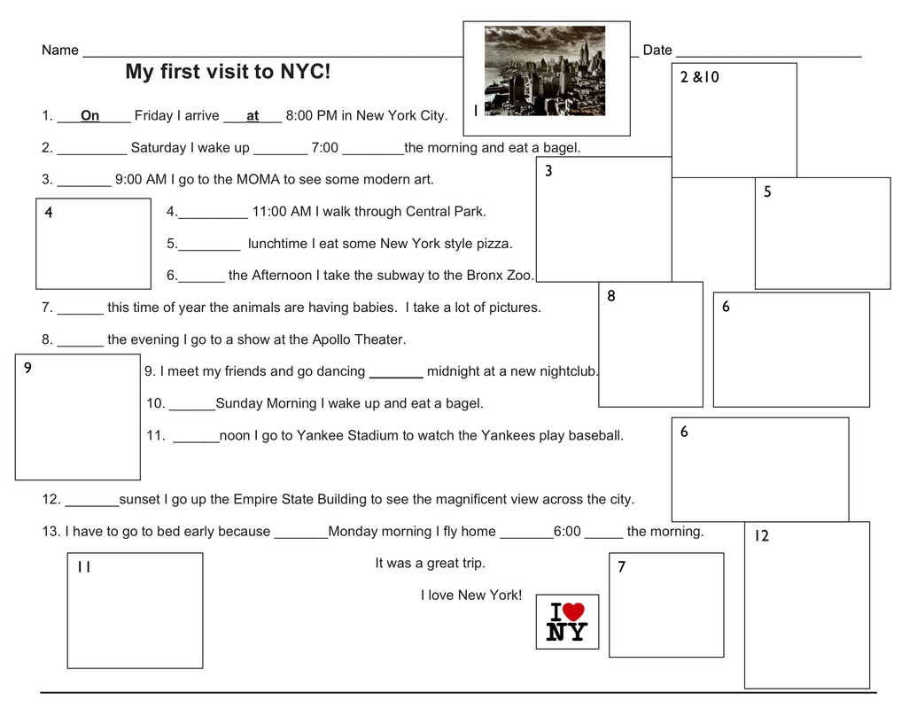 worksheet Prepositions Of Time Worksheet prepositions esl with miriam of time i love ny worksheet doc