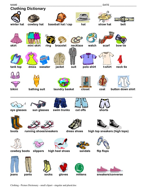 Clothing - picture dictionary - singular and plural - 1 page